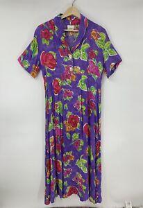 We-Be-Bop-Dress-Purple-Floral-Long-Aline-Rayon-Short-Sleeve-Size-M-L2