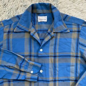 Brent-Vintage-50s-kleine-Blau-Plaid-Loop-Kragen-Shirt-Rayon-Square-Rockabilly-AKV