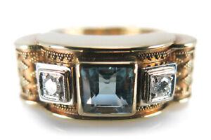 Ring-Brillanten-G-vs-Blautopas-etruskische-Granulation-Gelbgold-BRORS-14322