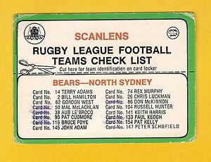 1978-SCANLENS-CHECKLIST-CARD-NORTH-SYDNEY-BEARS-MARKED