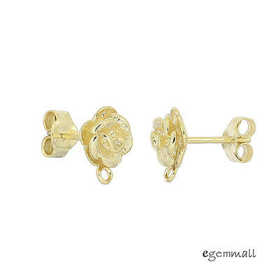 14kt Gold Plated Sterling Silver Rose Flower Stud Post Earring Connector #99146