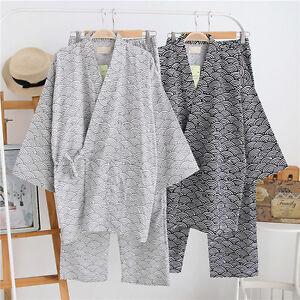 Japanese-Kimono-Yukata-Shorts-Set-Cotton-Pajamas-Set-Men-039-s-Sleepwear-Bequ-Gift