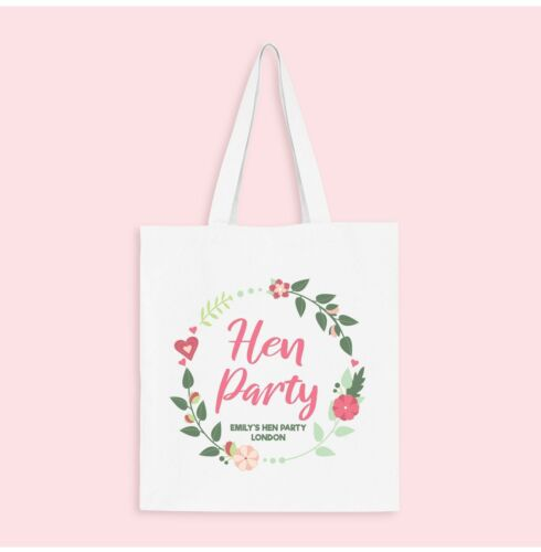 Vintage Floral Wreath Personalised Hen Party Tote Bags White White