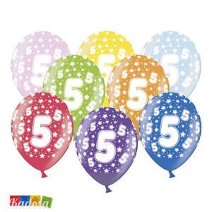 Dettagli Su 6 Pz Palloncini 5 Anni Multicolor Birthday Compleanno Festa Decorazioni Party