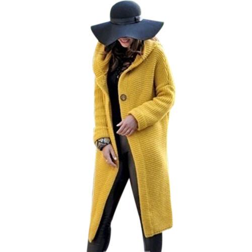 Damen Langarm Cardigan Strickjacke Sweater mit Kapuze Kapuzenpullover Longtops