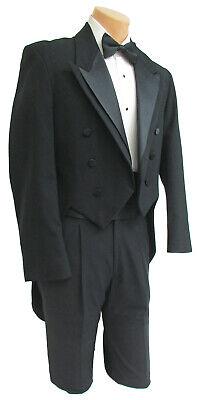 40R Black Tuxedo Tailcoat Debutante Jacket Mardi Gras Long Tails Coat Costume