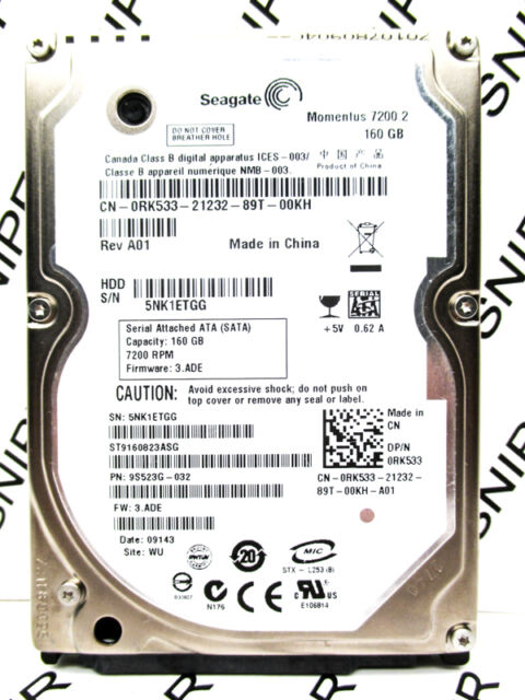 Seagate 160GB ST9160823ASG SATA 9S523G-032 Laptop Hard Drive - WIPED & TESTED