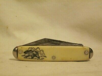 vintage two blade folding pocket knife U S A  bear w/ mountain detail | eBay