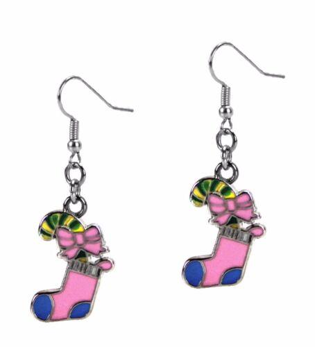 Christmas Dangle Fashion Earrings Pink Stocking Stuffer Silver Grace Of New York