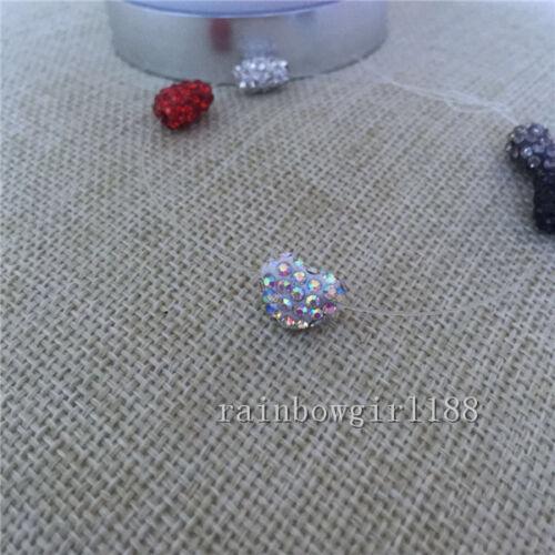 10mmx11.5mm Across Hole Heart Shape Polymer Clay Rhinestone Shamballa Beads