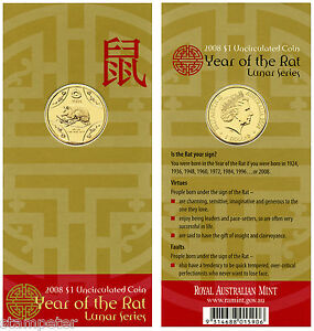 2008-Australia-Lunar-Series-Year-of-the-Rat-1-UNC-Carded-Coin