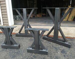 Details About Trestle Metal Table Legs Custom Sizes Farmhouse Metal Legs  Dining Bench Set Legs