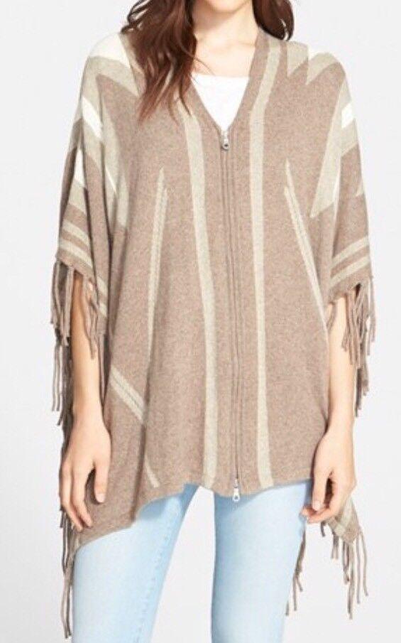 Joie Ignacie Beige Zip Up Poncho Cotton Blend Sweater Size XXS S Boho
