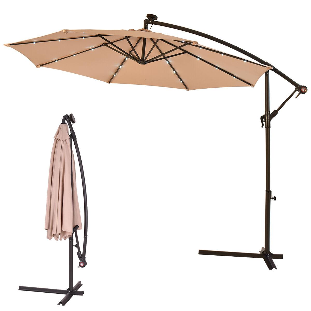 outdoor 10 39 led hanging solar umbrella patio sun shade offset market use w base ebay. Black Bedroom Furniture Sets. Home Design Ideas