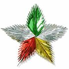MULTI-COLOURED STAR LEAF METALLIC FOIL HANGING CHRISTMAS PARTY 3D CEILING DECOR