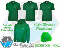 Kelly Green Personalised Embroidered Work Wear Package Hoodie Polo Shirt Beanie