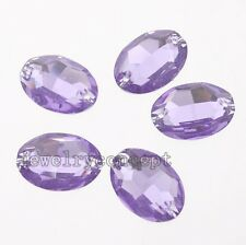 50pcs Lots Purple Oval Sew-on Charms Resin Beads Buttons Fit Jewelry Makings J