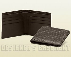 ee8cf2a58f1 Image is loading GUCCI-Mens-Espresso-Brown-MICRO-GUCCISSIMA-embossed-Bifold-