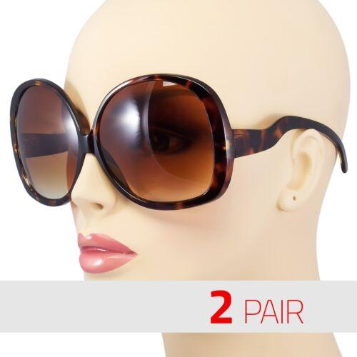 2 PAIR Huge Extra Oversized Large Womens Retro Vintage Round Sunglasses Tortoise