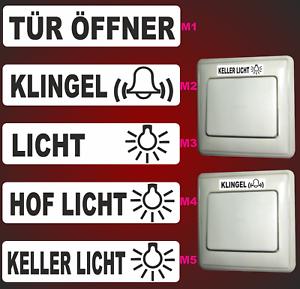 5 aufkleber klingel lichtschalter t r ffner kellerlicht schalter elekto logo f ebay. Black Bedroom Furniture Sets. Home Design Ideas