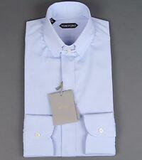 New Tom Ford Solid Blue Dress Shirt Tab Collar Slim Fit Model Size 15 38 NWT