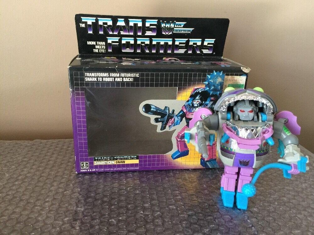 Original 1986 Hasbro Transformers G1 Sharkticon Gnaw 100% Suelto Completo Con Caja