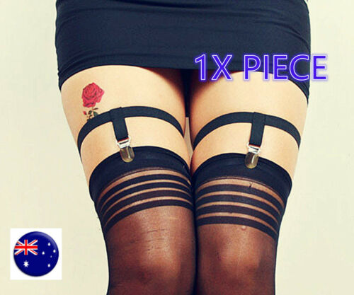 1PIECE Women Goth Basic Leg Thigh Stocking Elastic Belt Suspender brace Clipper