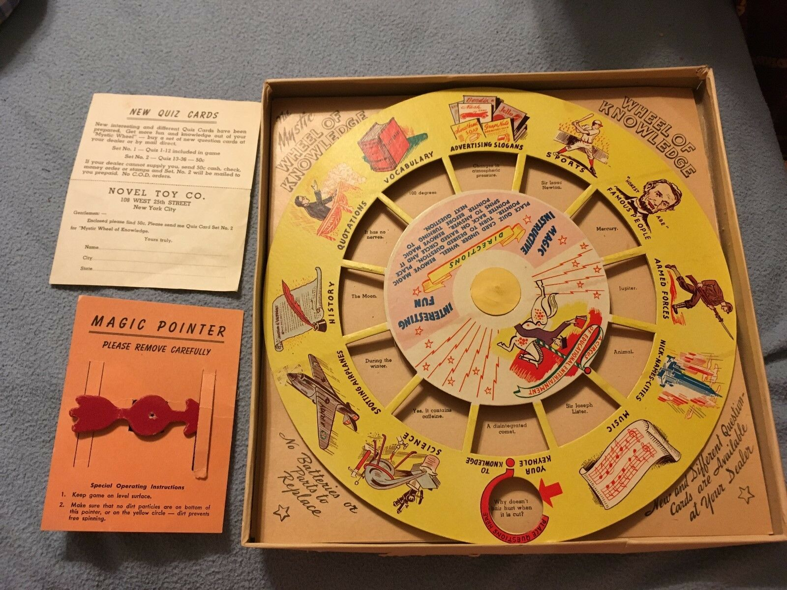Rare Vintage Novel Toy Co. - The Mystic Wheel Of Knowledge Game Complete NICE