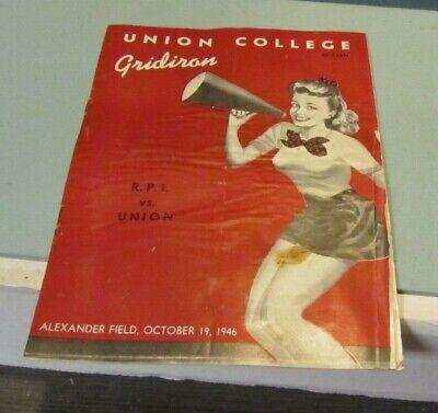 1946 Rpi Vs Union College Football Game Program Schenectady New York Sports Ebay