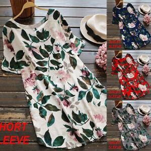 Summer-Women-Casual-Loose-Short-Sleeve-Boho-Floral-Tunic-Tops-Shirt-Mini-Dress
