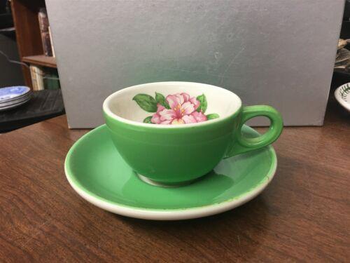 Homer Laughlin Restaurant Ware Green Cup /& Saucer Flowers