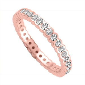2.00 Ct Round Moissanite Eternity Band 14K Solid Rose Gold Wedding Ring Size 6 7