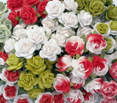 100 Mini 1cm Paper Flowers Wedding Rose House Basket Decor Craft Supply R2-79