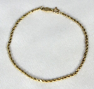 Nice-7-034-Solid-14k-Yellow-Gold-Rope-Chain-Bracelet-Signed-A-with-Pat-Number-1g