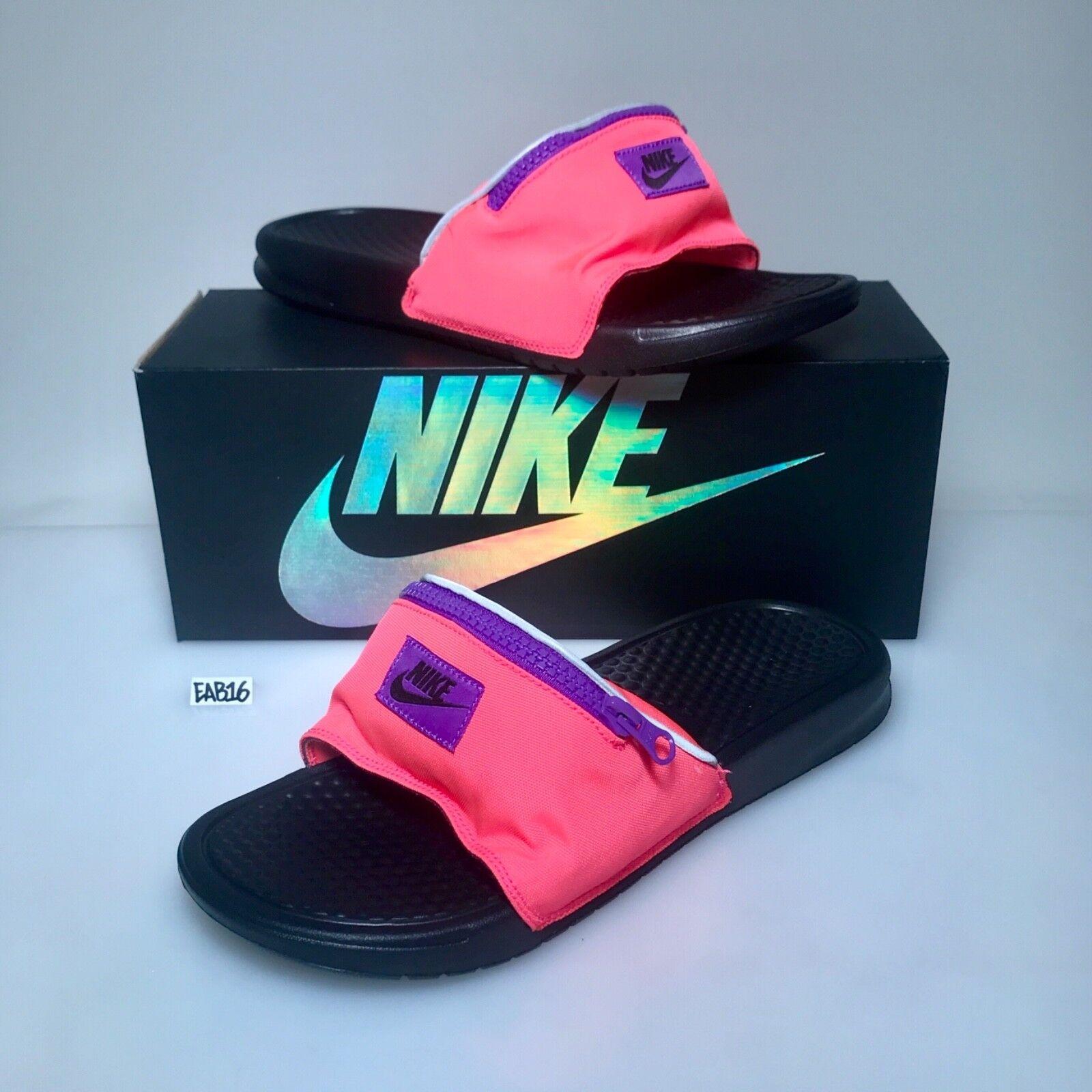 Nike Benassi JDI Fanny Pack Slide Pink Hyper Punch Black AO1037 600 Slippers