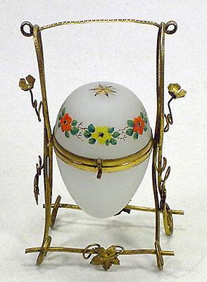 Antique French Ormolu HP Enamel Opaline Glass Egg Casket Jewelry Box Stand