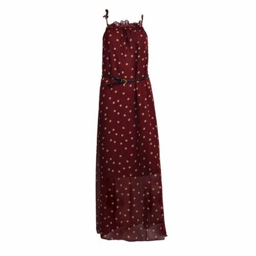 Frauen Chiffon Punkt Weste Maxi Voll Lange Kleid aermellos Mit Guertel L5E2