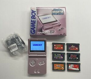 Nintendo-Game-Boy-Advance-SP-AGS-101-Handheld-System-Pearl-Pink-6-Games-amp-Box