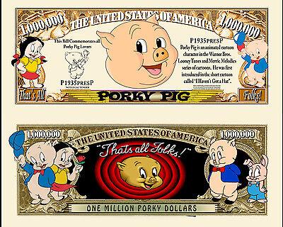 FREE SLEEVE Porky Pig Million Dollar Bill Fake Play Funny Money Novelty Note