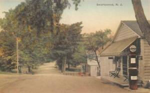 SWARTSWOOD-NJ-RL-Sherred-Store-Standard-Gas-Pump-ca-1930s-Hand-Colored-Postcard