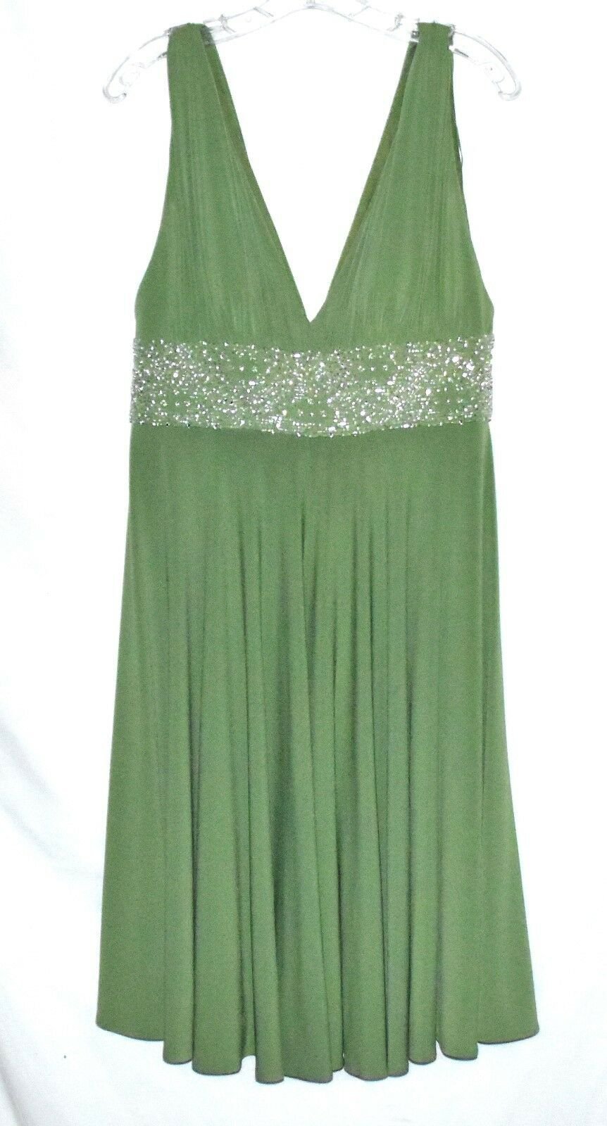 JS Collections Lime Green Beaded Empire Waist with Bra Insert Party Dress Sz 10