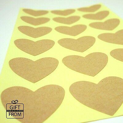 "1.2""(3cm)Kraft Blank Plain Heart Stickers Seals for wedding favor DIY jar label"