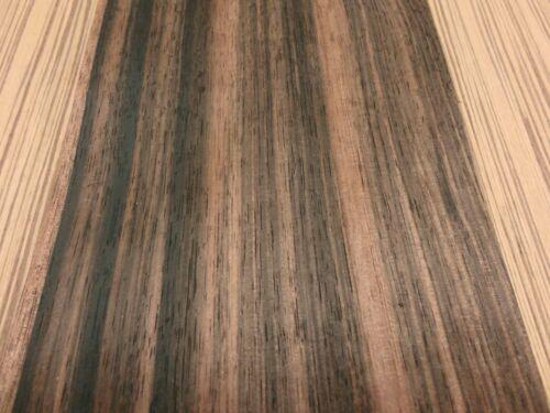 "Ebony Macassar wood veneer 7/"" x 49/"" raw no backing 1//64/"" thickness AA grade"