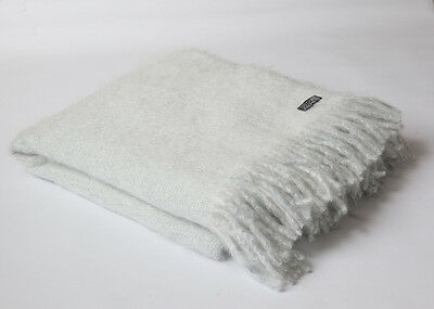FOXFORD BLENDED SUPERSOFT MOHAIR PALE BLUE AND WHITE THROW BLANKET RUG 3331/S17