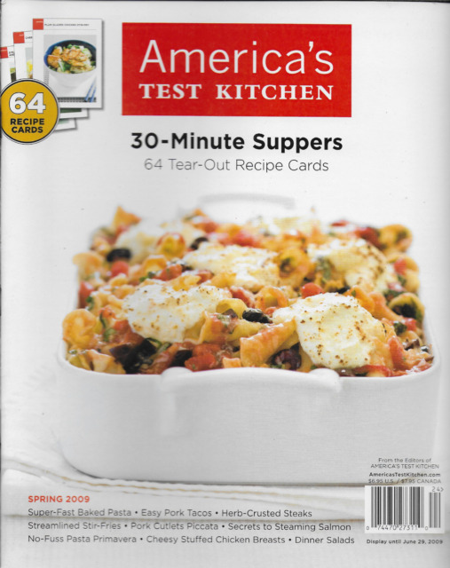 Americas Test Kitchen magazine 30 minute suppers Baked pasta Pork tacos Salads
