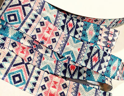 "10 yards White aqua /& gold metallic tribal Aztec print //8/"" fold over elastic FOE"