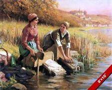 WOMEN WASHING CLOTHES IN THE RIVER OIL PAINTING ART REAL CANVAS GICLEEPRINT