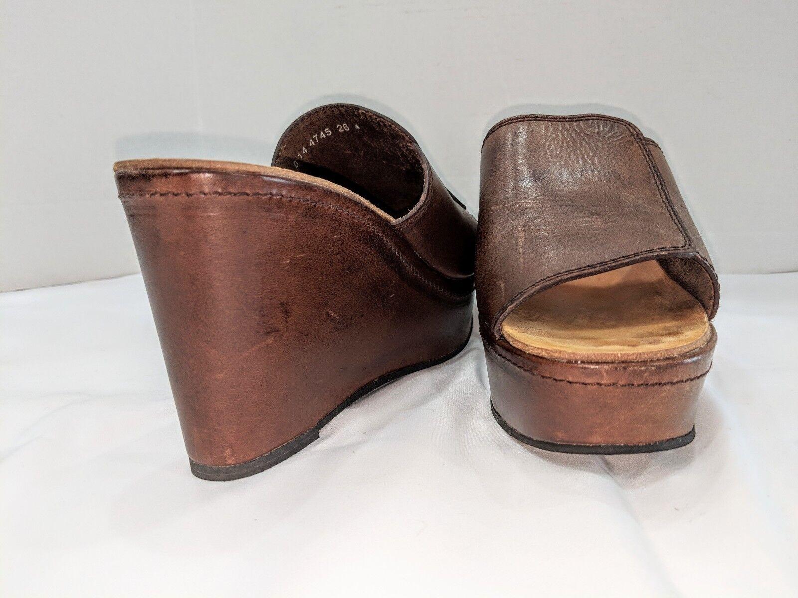 Robert Clergerie French Brown Platform Sandals CAFE VEG VEGETAL CAFE BLOC 10b