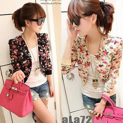 Womens Chiffon Floral Printed Long Sleeve Short Coat Zipper Bolero Shrug Jacket