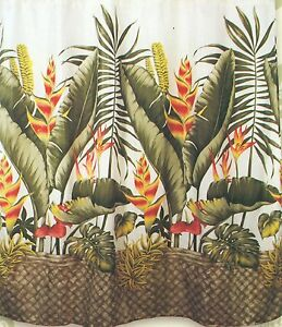 Tropical Floral Fabric Shower Curtain Colorful Flora